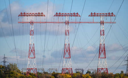 high voltage post. Tree High voltage towers. Group of transmission towers or power tower, electricity pylon