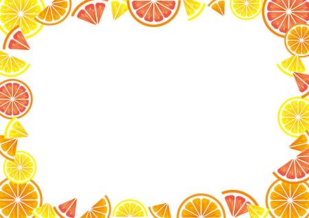 Frame of citrus slices (lemon, orange, grapefruit).