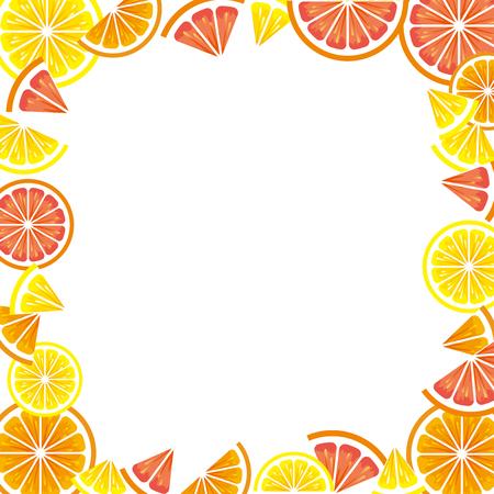 Frame of citrus slices (lemon, orange, grapefruit). Vector Illustratie