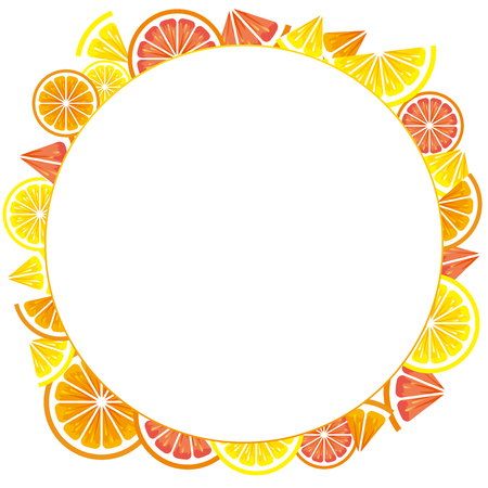 Frame of citrus slices (lemon, orange, grapefruit).
