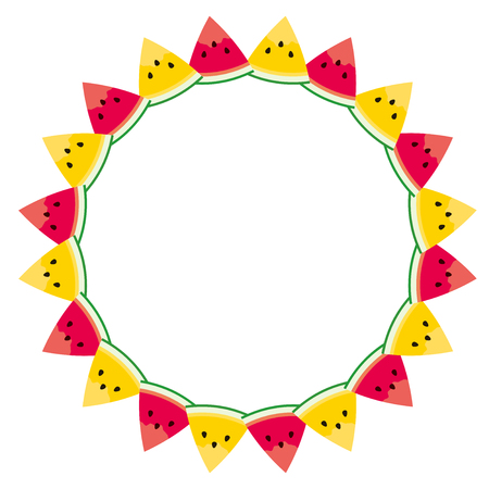 Frame made of watermelon pieces on a white background. Stock Illustratie