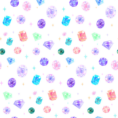 Seamless pattern of beautiful various jewelry.