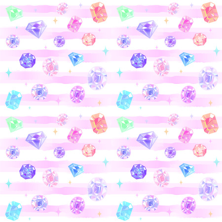 Seamless pattern of various beautiful jewelry. Watercolor stripes.