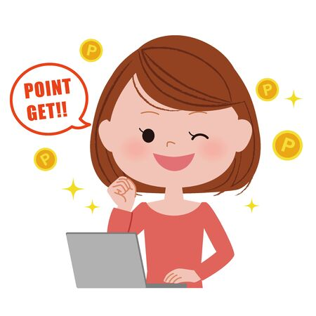 Illustration of a young woman operating a laptop computer.  Pont get. Illustration