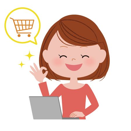 Illustration of a young woman operating a laptop computer.  Shopping. Illustration