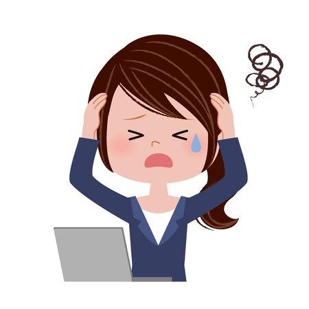 Ilustración de una mujer joven que opera una computadora portátil. / Problema Ilustración de vector