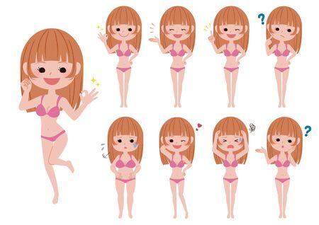 Illustration set of girl wearing swimsuit. Illustration