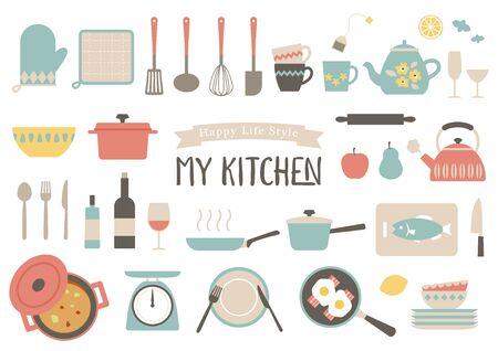 kitchen tools illustration set.