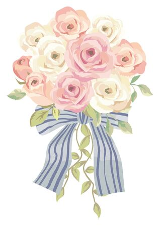 Beautiful rose wedding bouquet illustration