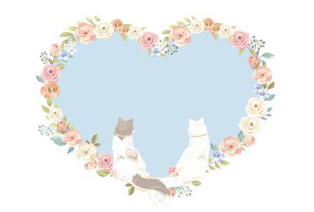 Cute fluffy cat wedding card