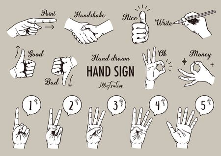 Hand sing icon collection. Hand drawn vector illustration .