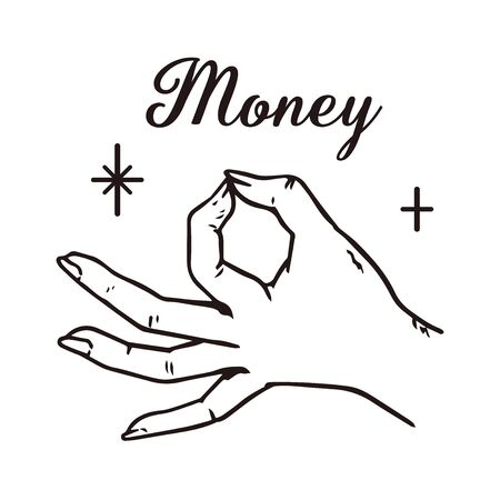 Illustration of a hand representing money.