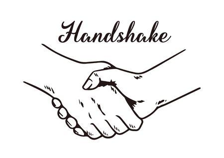 hand drawn illustration of handshake.  イラスト・ベクター素材