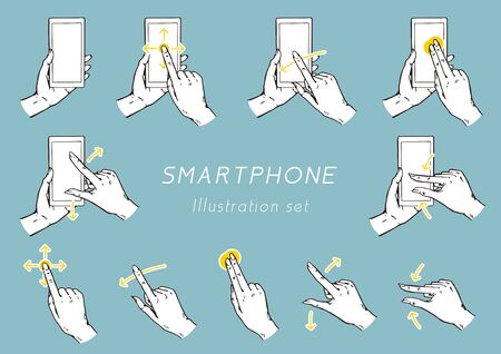 Gesture icons for smart phones.  イラスト・ベクター素材
