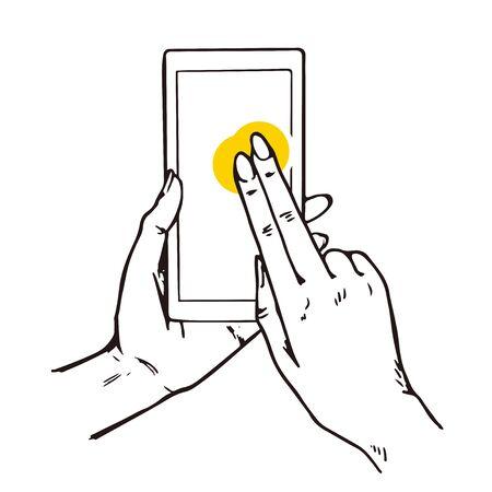 Gesture illustration for smart phones. 스톡 콘텐츠 - 138366231