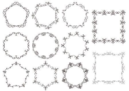 Elegant frame design illustration collection. Vector Illustration