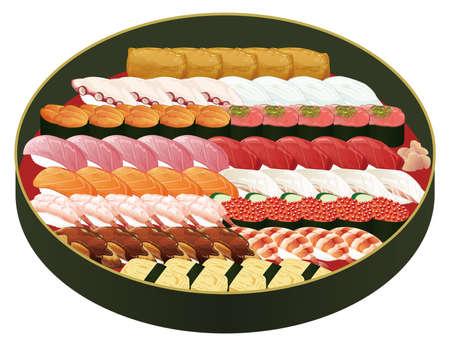 Illustration of sushi in a sushi tub