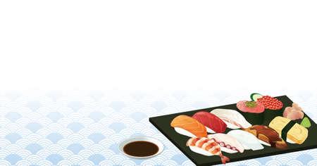 Vector illustration of Japanese sushi Vecteurs