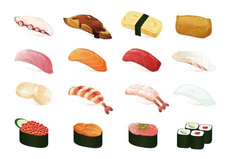 Illustrations of various sushi. Vecteurs