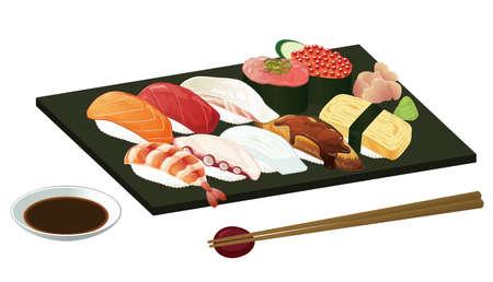 Vector illustration of Japanese sushi