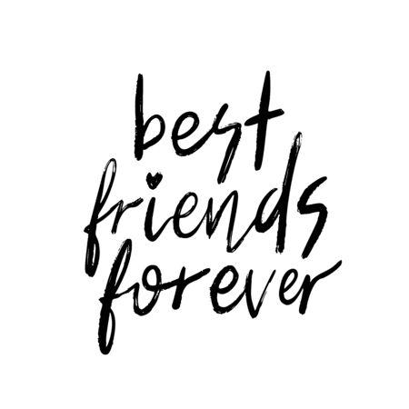 Best friends forever. BFF. Back lettering on white background. Lettering for card, poster, postcard, sticker, tee shirt . Modern calligraphy phrase. Vector illustration.