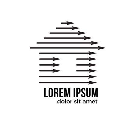 Simple logo home with up arrow. House logo icon with arrow symbol Ilustracja