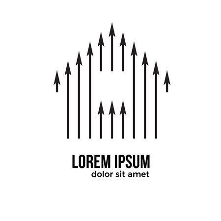 Simple logo home with up arrow. House logo icon with arrow symbol. Ilustracja