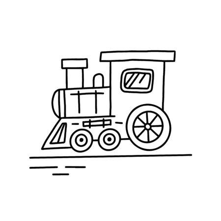 Illustration of doodle train. Hand drawn cartoon doodle style. Brush strokes simple locomotive graphic design. Vector illustration, isolated. Иллюстрация