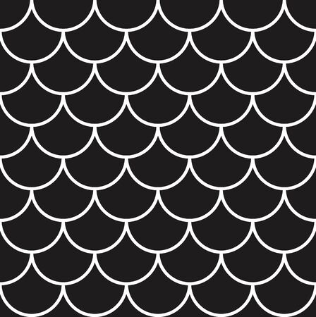 Fish, mermaid, dragon, snake scales. Tail scale seamless pattern. Black and white minimal background. Kids abstract texture. Vector illustration.