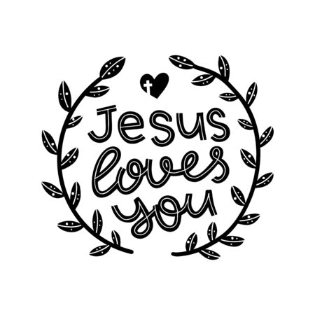 Jesus loves you graphic lettering. Typographic for card, poster, postcard, sticker, tee shirt. Inspirational quote Jesus loves you. Vector illustration. Vectores