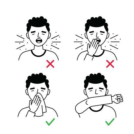 Flu disease Prevention. Coronavirus Precaution Tips. Prevention against virus and infection. Vector illustration.