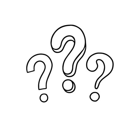 Handwritten question mark. Doodle, sketch style. Vector illustration on white background. Symbols of problem, trouble, confusion. Metaphor question and answer.