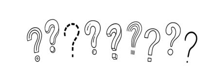 Set of handwritten question marks. Doodle, sketch style. Doodle pictures isolate on white. Vector illustration on white background. Symbols of problem, trouble, confusion. Horizontal banner. 向量圖像
