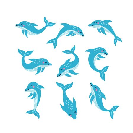 Set of blue cute dolphin. Hand drawn vector illustration. Set of cute cartoon characters. Bottlenose dolphin jumping for entertainment show. Vector Illustration on a white background. Illustration