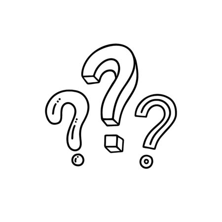 Handwritten question mark. Doodle, sketch style. Vector illustration on white background. Metaphor question and answer. Vector illustration on white background. Symbols of problem, trouble, confusion.