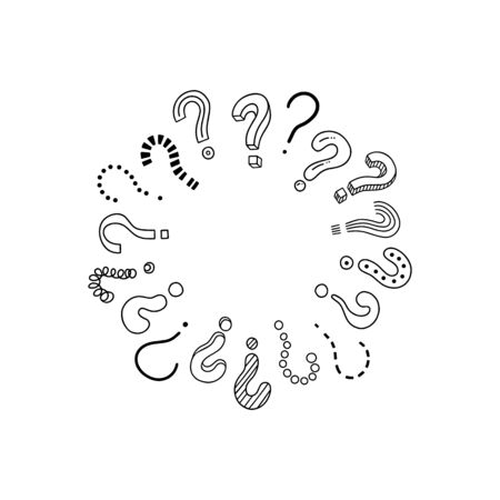 Circle of handwritten question marks. Concept doodle, sketch style. Doodle pictures isolate on white. Vector illustration on white background. Symbols of problem, trouble, confusion