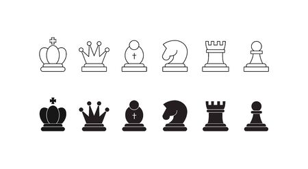 Chess pieces icon set. Included icon king, queen, bishop, knight, rook, pawn. Silhouettes isolated on white background. Chess pictogram. Set of strategy icons in line style Vector symbols