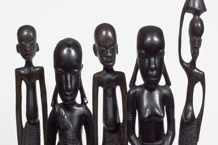 African woodcarvings depicting a family
