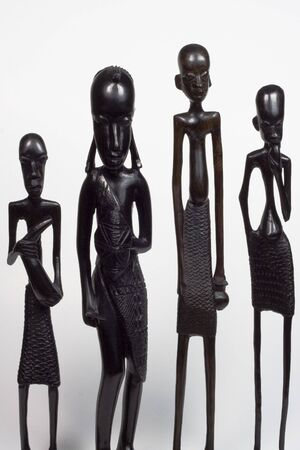 African woodcarvings depicting different men