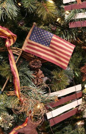 US flag ornament on Christmas tree photo