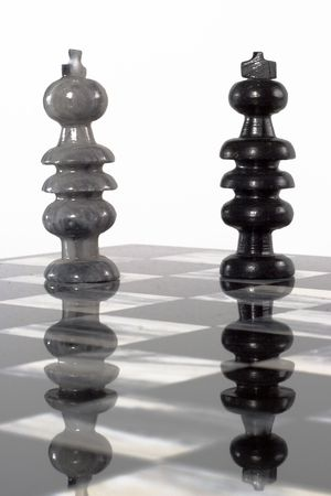 Onyx stone hand-carved chess set board and pieces photo