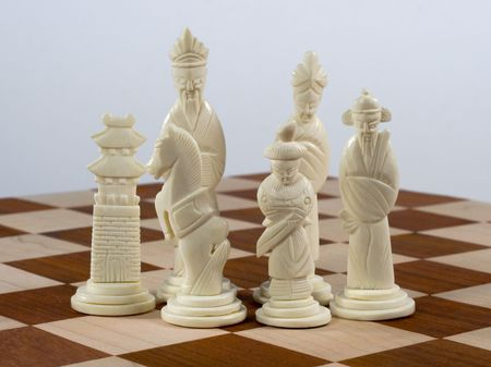 hand: Hand carved Chinese chess set Stock Photo