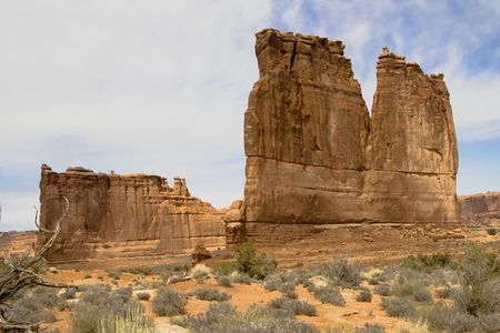 Thin mesa formations in Arches National Park, Utah USA Stock Photo