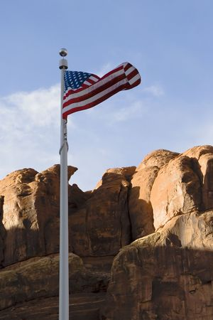 American flag at Arches National Park, Utah photo