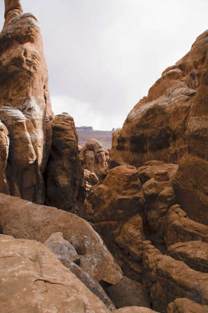 Rock formation in fiery furnace in Arches national Park, Utah, USA Imagens