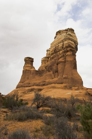 rick: Tall rick formation in Arches National Park, Utah, USA