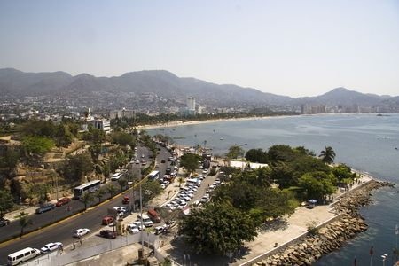 Looking into Acapulco at the bay and hills Stock Photo