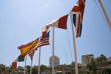 Flags in Acapulco, Mexico Stok Fotoğraf