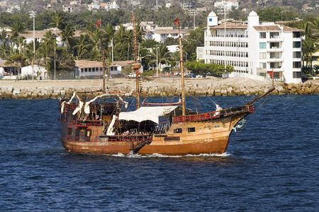 Old pirate ship in Mexican waters Banco de Imagens