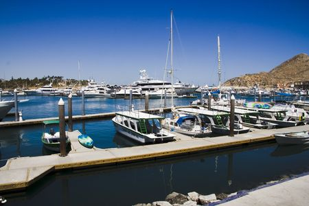 lucas: Boats in harbor at Cabo San Lucas harbor
